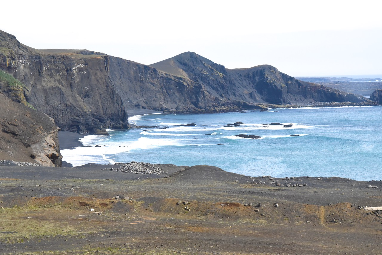 View of Rugged, Volcanic Atlantic Coastline  (From Bus)