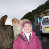 Gibraltar - the hood is up not just against the rain that is drizzling, but against the apes as well. What an experience!