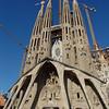 La Sagrada - the Passion Facade of the church designed by Gaudi.