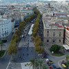 La Rambla - the famous promenade of Barcelona from the balcony high atop the Monument to Christopher Columbus.