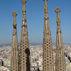 La Sagrada - view of four of the spires towering over Barcelona from a spire on the opposite side of the church.