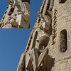 La Sagrada - one of the statues high on the facade - from our perch high above the ground. Close up inset.