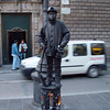 La Rambla - a street performer - painted to look like a wrought iron statue.