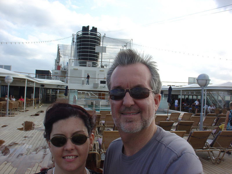 Enjoying the views from the aft Lido pool deck.  It was a bit windy.