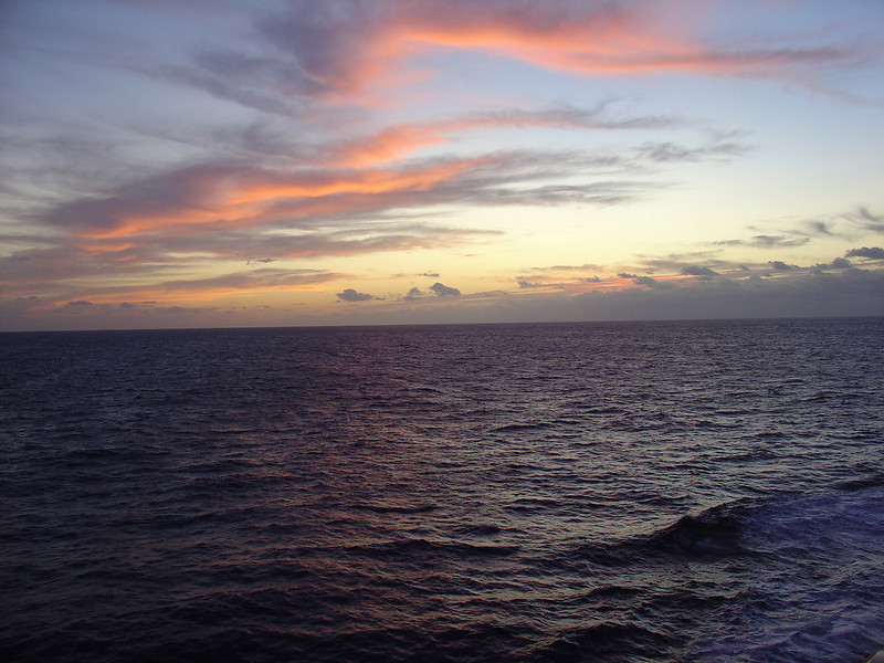 Sunrise at sea,