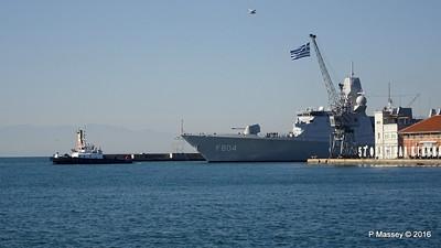 HNLMS DE RUYTER F804 Pier A Departing Thessaloniki PDM 01-11-2016 10-22-20