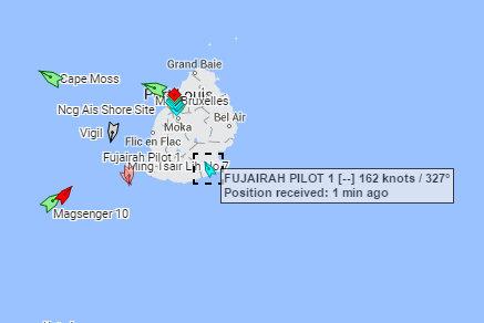 AIS can give amazingly incorrect info sometimes - FUJAIRAH PILOT 1 Mauritius at 162kts AIS on 31-03-2016 15-05-48