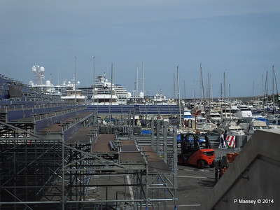 Grand Prix stand preparations obscure Port Hercule Monaco 07-04-2014 13-39-46