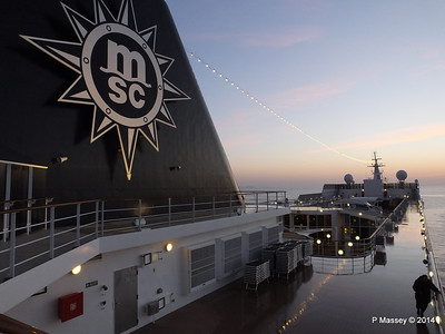 Looking fwd over MSC SINFONIA from Deck 13 aft PDM 07-04-2014 04-55-25