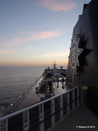 Looking fwd over MSC SINFONIA from Deck 13 aft PDM 07-04-2014 05-00-51