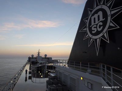 Looking fwd over MSC SINFONIA from Deck 13 aft PDM 07-04-2014 05-03-32