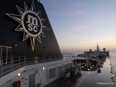 Looking fwd over MSC SINFONIA from Deck 13 aft PDM 07-04-2014 04-55-38