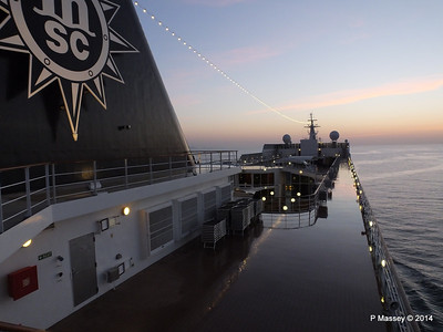 Looking fwd over MSC SINFONIA from Deck 13 aft PDM 07-04-2014 04-55-11