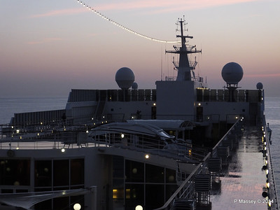 Looking fwd over MSC SINFONIA from Deck 13 aft PDM 07-04-2014 04-55-50