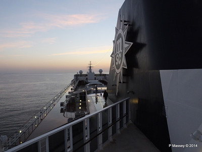 Looking fwd over MSC SINFONIA from Deck 13 aft PDM 07-04-2014 05-00-45
