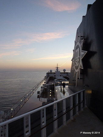 Looking fwd over MSC SINFONIA from Deck 13 aft PDM 07-04-2014 05-00-55