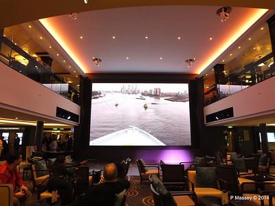 Departing Rotterdam on NORWEGIAN GETAWAY's Atrium screen PDM 13-01-2014 15-57-24