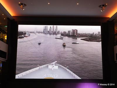 Departing Rotterdam on NORWEGIAN GETAWAY's Atrium screen PDM 13-01-2014 15-57-21