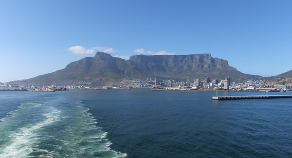 Table Mountain as we were leaving Cape Town, South Africa.