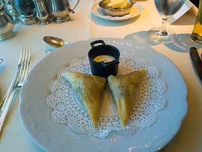 Crab Samosas with  yogurt-cucumber raita