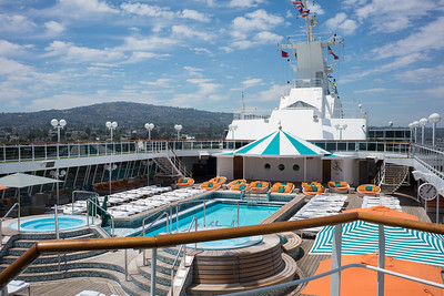 The Lido deck pool and hot tub portion from the aft facing the bow.