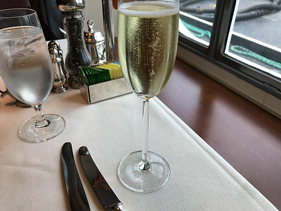 Actually a French Sparkler, not a Champagne.  Oddly only seen during embarkation.