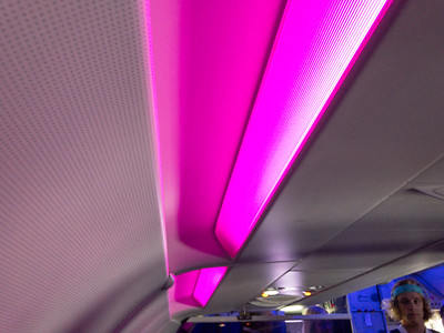 Mood lighting on Virgin America.