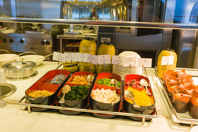 Asian breakfast condiments in the Lido Buffet