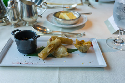Assorted Dim Sum with a soy dipping sauce.  They ran out of this type of plate about 10 minutes into service.