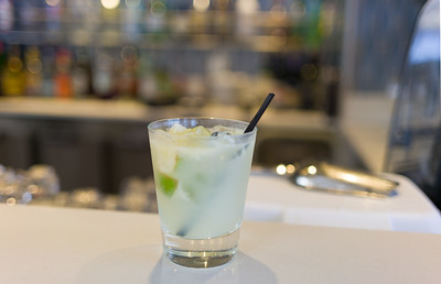 A proper (well aside from the liquor being kind of sort of not even average for the type) Caipirinha made with white sugar.  Thanks Junior.