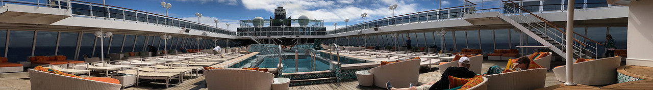 Nearly empty pool deck.  For the skin cancer seekers, er sunbathers it was never really crowded
