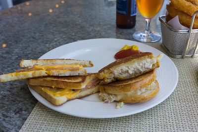 Grilled ham and cheese, tuna melt and well done onion rings from the Trident Grill.  Also some Sam Adams.