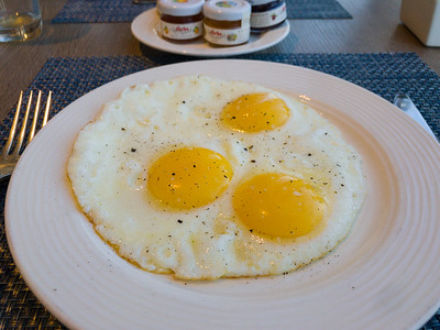 3 eggs Sunny Side Up - not hard boiled like they would have been on Regent.
