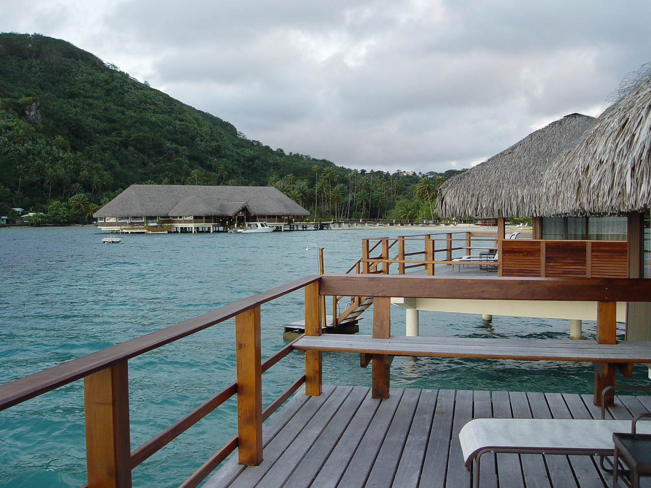 This is the view from our over water bungalow on Huahine.  It was heaven!
