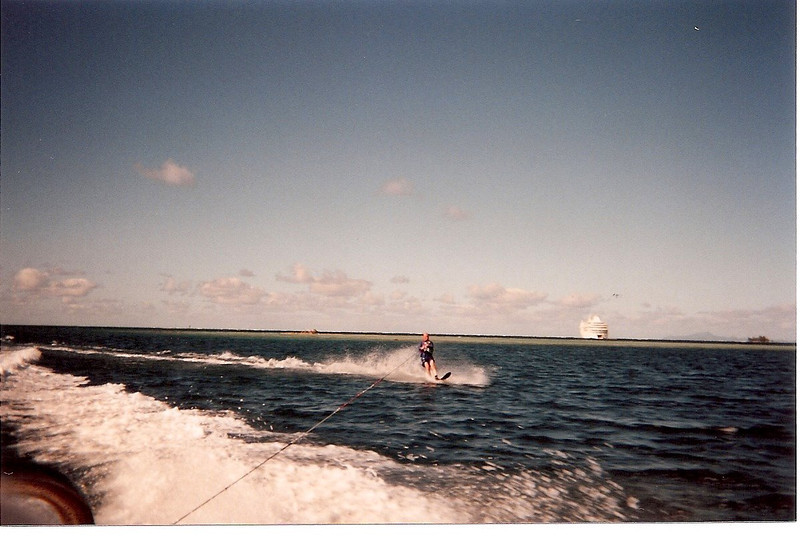 David water skiiing - that's our ship in the background