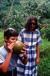Michael and Nancy enjoying a refreshing cool coconut.