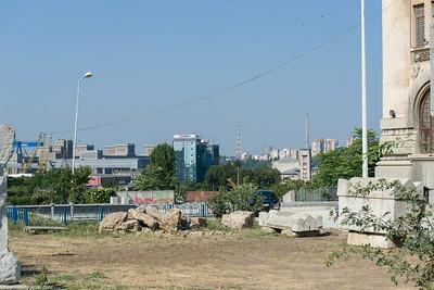 Ancient ruins amid a modern mess
