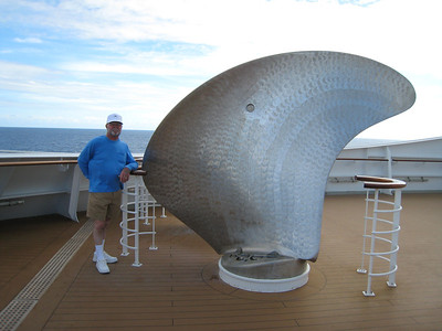 David on deck with a huge propeller.