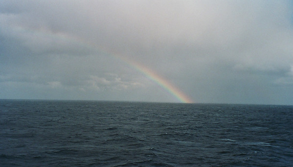 A rainbow over the open sea