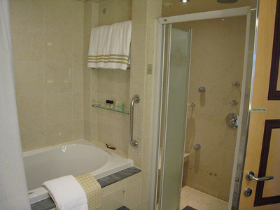 Great bathroom with both a jacussi tub and huge shower.