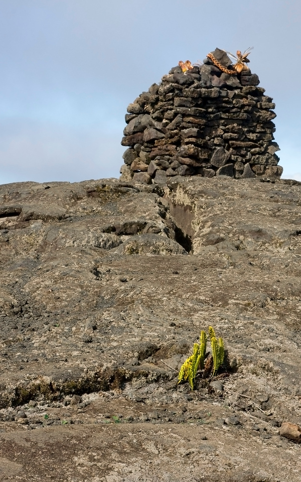 King Kamehameha's shrine in the lava field between Mauna Loa and Mauna Kea, at the junction where the saddle road and the road to the Mauna Kea observatories and summit meet.