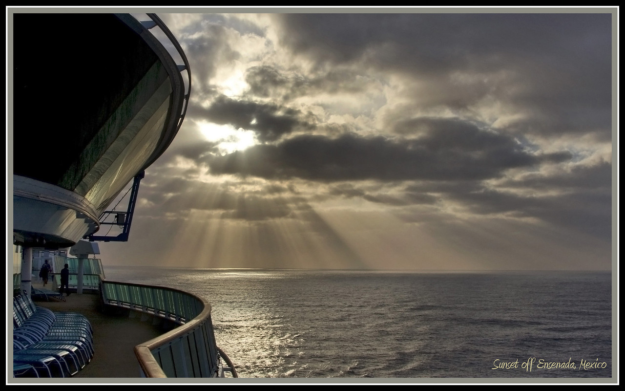 Sunset and Crepuscular Rays while heading into Ensenada, Mexco aboard the Radiance of the Seas