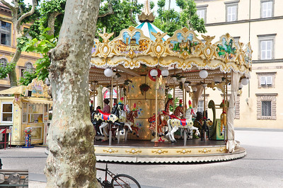 What would've been a nice picture of the carousel was ruined when this tree jumped in the way at the last second (Lucca).