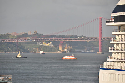 Aft end of the Oceania Marina and the faux Golden Gate.