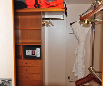 Closet complete with the worlds safest safe.  Youll never have to worry about forgetting your password when the thing wont lock.