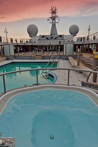 Looking towards the bow, one of the hot tubs and the pool.