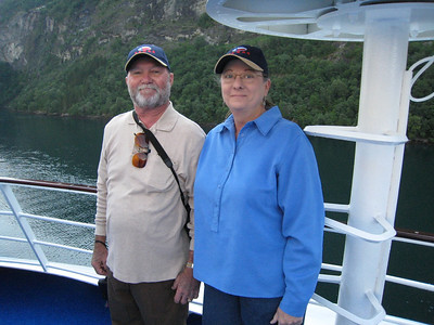 Enjoying the sights on deck in Geiranger fjord