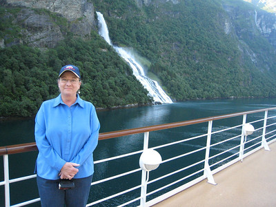 Me on deck with bridal veil falls in the background