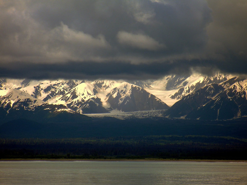 Just a Glimpse of Wrangell-St. Elias National Park and Malaspina Icefield from Yakutat Bay