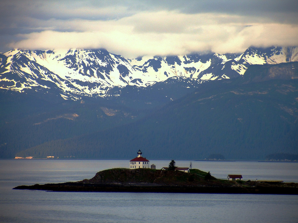Eldred Rock Lighthouse and Mounatin Range in Lynn Canal at Dawn